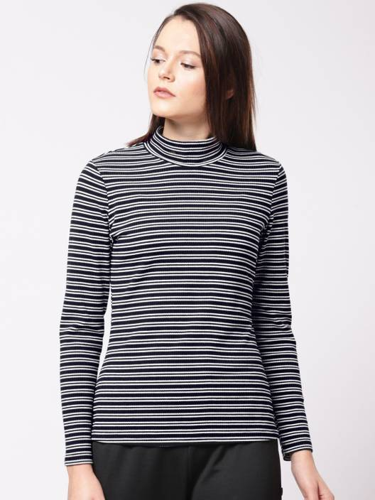 6aa2916a1 ether Striped Women High Neck Black, White T-Shirt - Buy ether Striped Women  High Neck Black, White T-Shirt Online at Best Prices in India | Flipkart.com