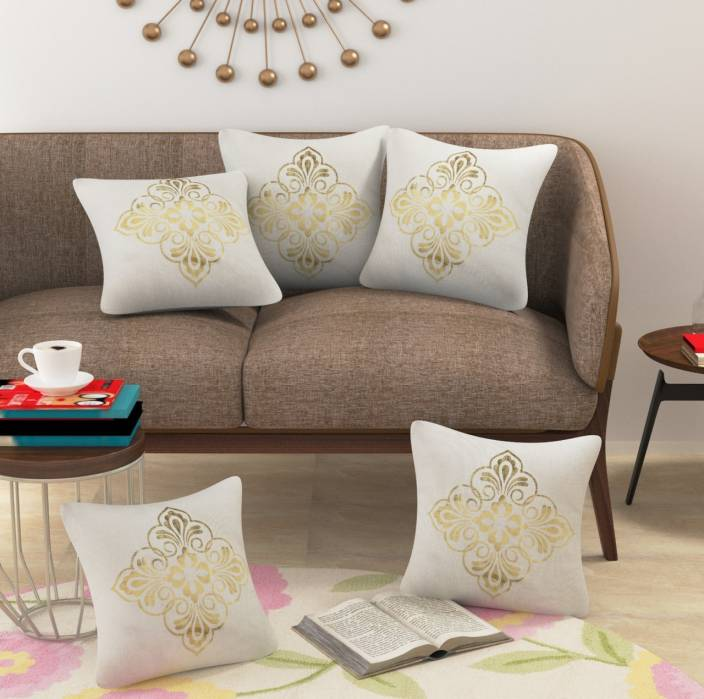 Beautiful Homes Printed Cushions Cover Pack Of 5 16 Cm Gold