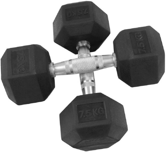 659b1a895db Credence 7.5Kg X 2pcs Hexagonal Rubber Coated Fixed Weight Dumbbell ...