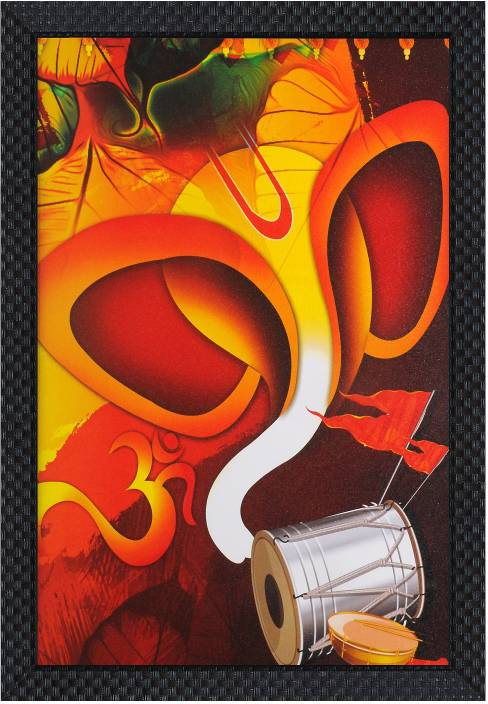 V Art Creations Texture Canvas Print Lord Ganpati Ganesha