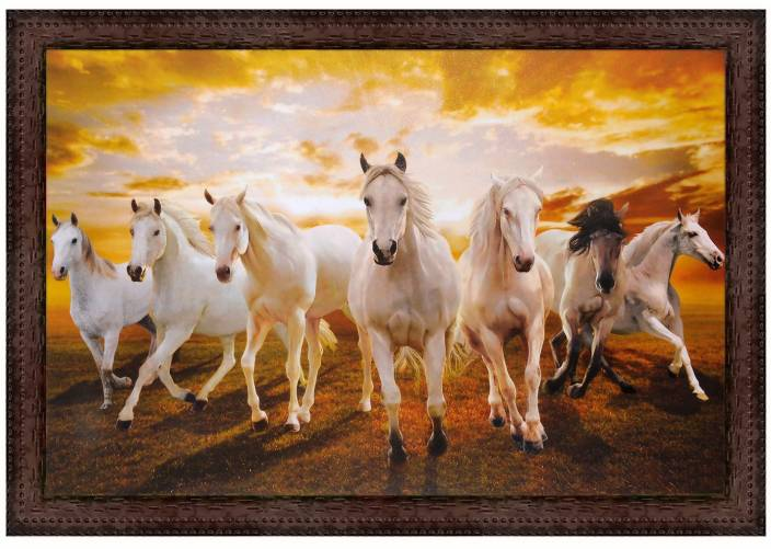 V Art Creations Texture Canvas Print Seven Horses Painting With