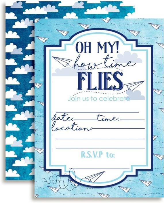 Amanda Creation Paper Airplane Time Flies Themed Birthday Party Invitations 20 5X7 Fill