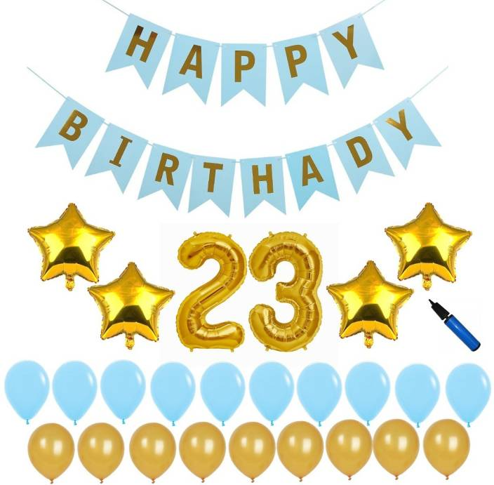 Bash N Splash Solid Blue Gold 23rd Happy Birthday Party Decoration Pack With Pump 23 Of 57 Balloon