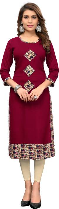 Vbuyz Women Printed, Solid Straight Kurta