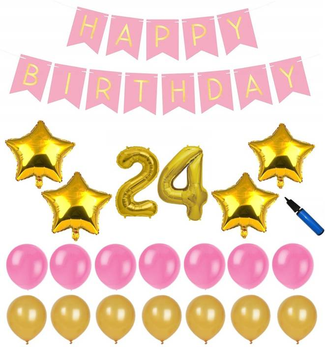 Bash N Splash Solid Pink Gold 24th Happy Birthday Party Decoration Pack With Pump Of 57 Balloon