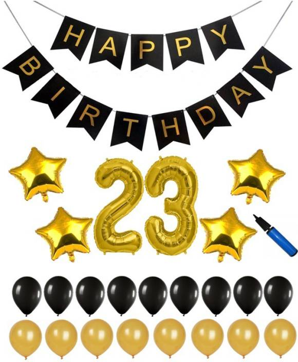 Bash N Splash Solid Black Gold 23rd Happy Birthday Party Decoration Pack With Pump Of 57 Balloon