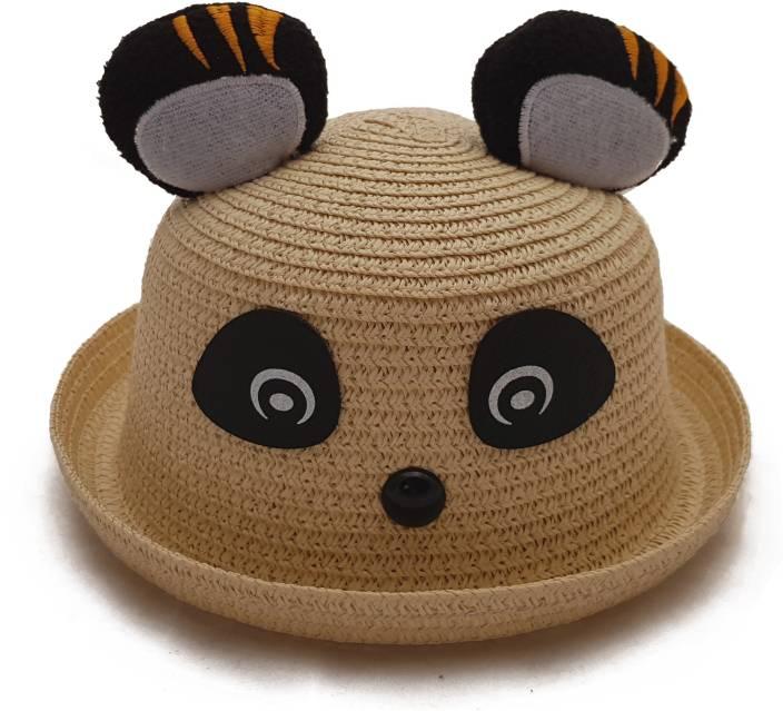 448a2e8b0 Vritraz Beautiful straw hat spring summer children baby boy girl kids  unisex printed cartoon fancy dress cap Panda Beige (Beige, Pack of 1)