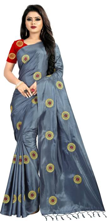 PUSHPSAGAR Embellished, Embroidered Fashion Silk Saree