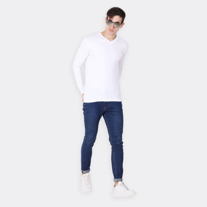 59eb2fc2 limited colours Solid Men's V-neck White T-Shirt - Buy limited ...