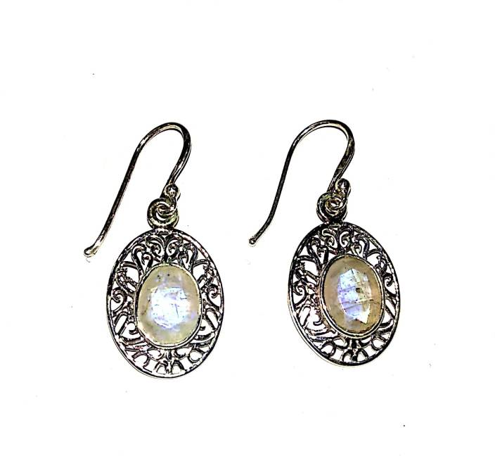 Plato Jewels Pure Silver Earrings Studded With Moonstone Gemstone For S Women Daily Party Casual Wedding