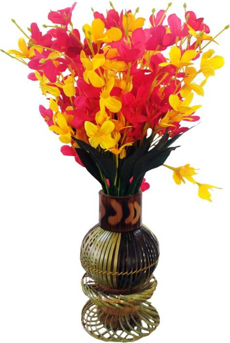 Tovick -Beautiful Orchid fabricated flowers with Bamboo crafted vase Yellow, Pink Orchids Artificial Flower with Pot
