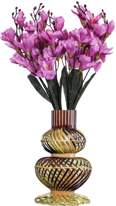 Tovick -Beautiful Orchid fabricated flowers with Bamboo crafted vase Purple Orchids Artificial Flower with Pot