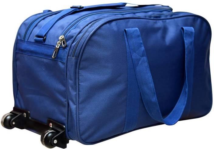 Dejan Blue Duffle Trolley Bag Soft Sided Nylon Trolley Travel Tourist Bag 50Ltrs Blue Color Duffel Strolley Bag