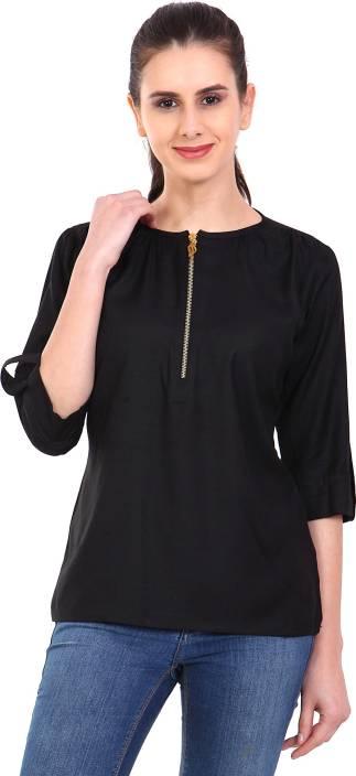 Naari Casual 3/4th Sleeve Solid Women's Black Top