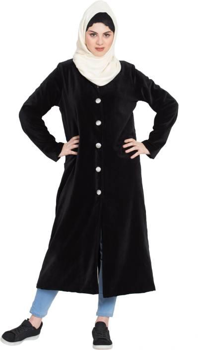 36b048aa5e3a5 Nazneen NHF203 Velvet Front open Coat(XXL) Cotton Solid Abaya Price ...