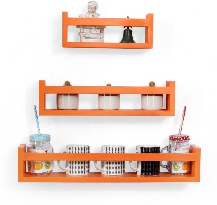 Wooden Creation Kitchen Wall Shelf Orange Mdf Wall Shelf