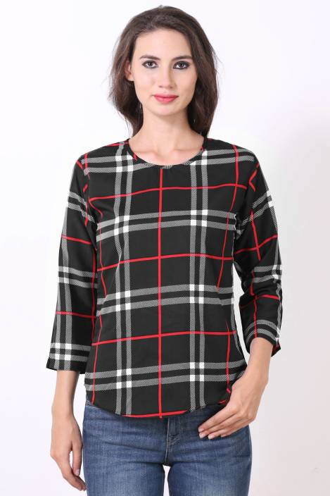 Phashion Town Casual Cuffed Sleeve Checkered Women's Black Top