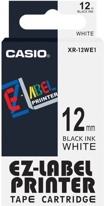 Casio 12mm Color Label Printer Tape (Black on White) Self-Adhesive Paper Label (White)