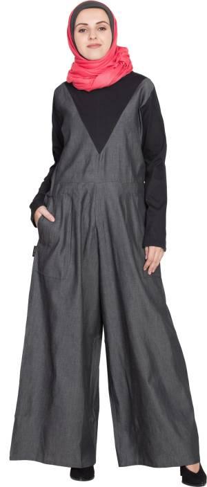 1210cb002e Nazneen NHF93Denim and Jersey Jumpsuit(L) Cotton Denim Self Design Abaya ( Black)