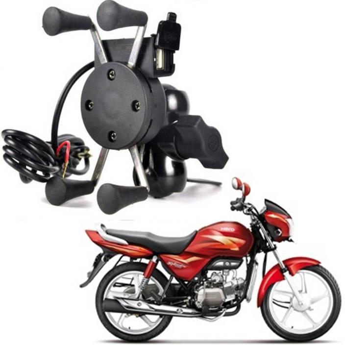 RWT X-Grip Mobile Phone Holder with USB Charger Bike Mobile Holder For Splendor Pro Bike Mobile Holder (Black)