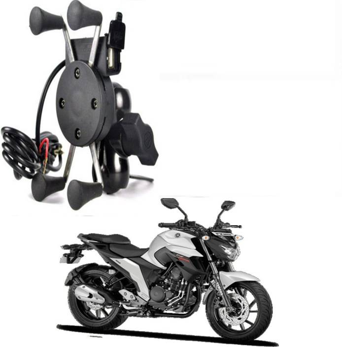 RWT X-Grip Mobile Phone Holder with USB Charger Bike Mobile Holder For FZ Bike Mobile Holder (Black)