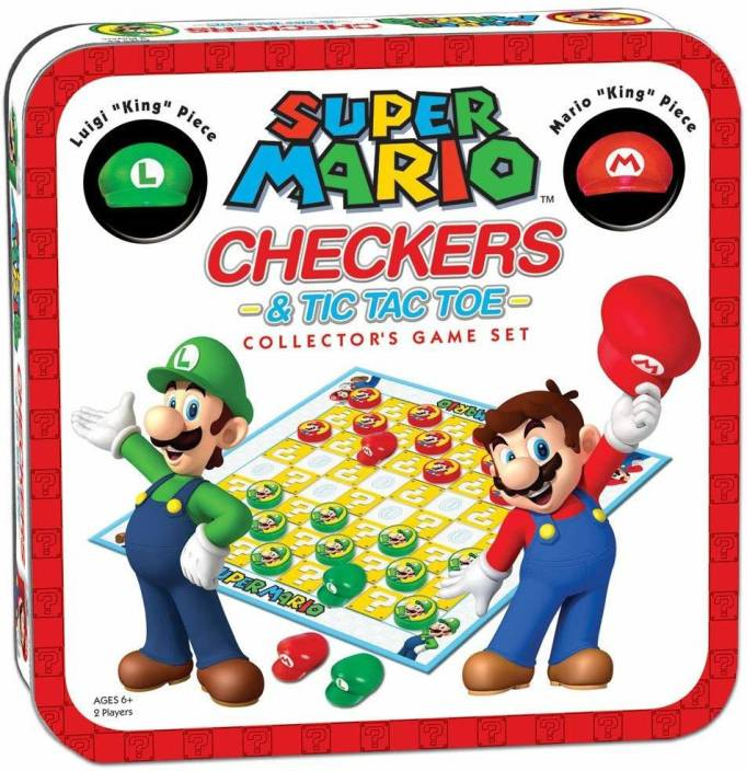 Super Mario Brothers Checkers Tic Tac Toe Combo Board Game