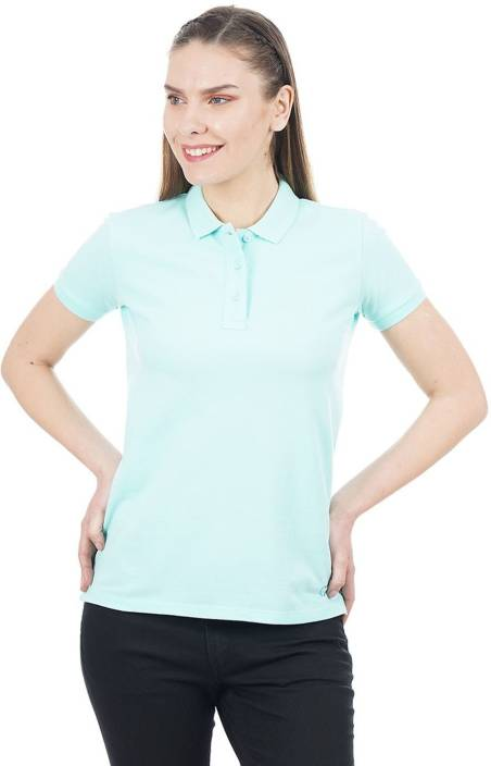 835ad3cc3 Pepe Jeans Solid Women Polo Neck Light Blue T-Shirt - Buy Pepe Jeans Solid Women  Polo Neck Light Blue T-Shirt Online at Best Prices in India