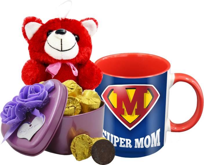 Midiron Gift For Mom Chocolate Bar With Ceramic Mug And Pink Teddy On Her Birthday Mothers