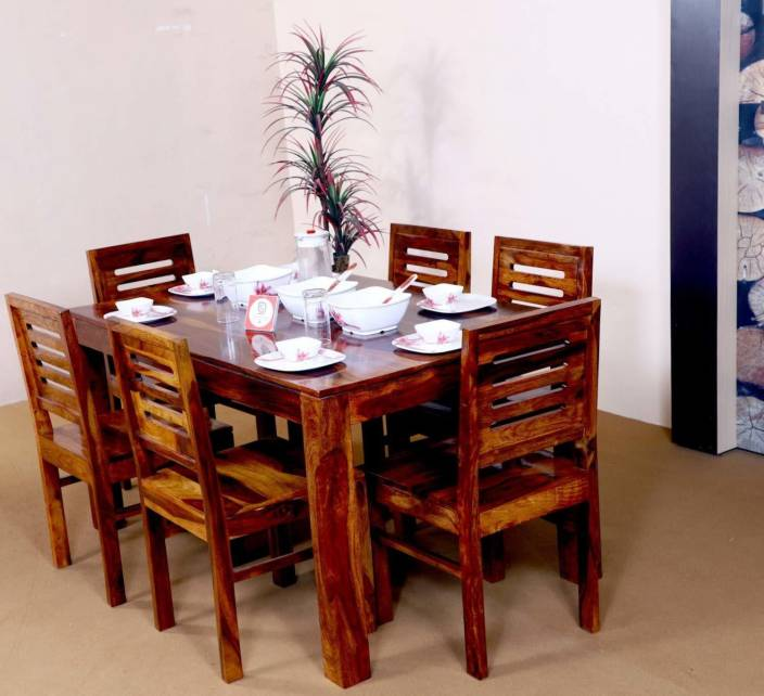 Allie Wood Sheesham Wood Wooden Dining Table Set With 6 Chairs Teak