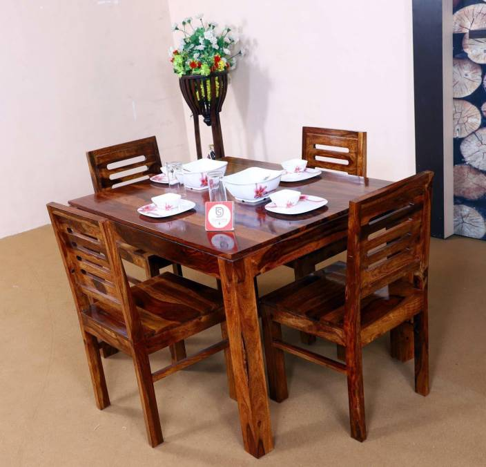 22c6cc079ebe Allie Wood Sheesham Wood Wooden Dining Table Set with 4 Chairs (Teak  Finish) Solid Wood 4 Seater Dining Set (Finish Color - Teak Finish)