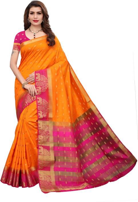 82b067803c7980 Soor Panchi Printed Fashion Tussar Silk Saree (Orange