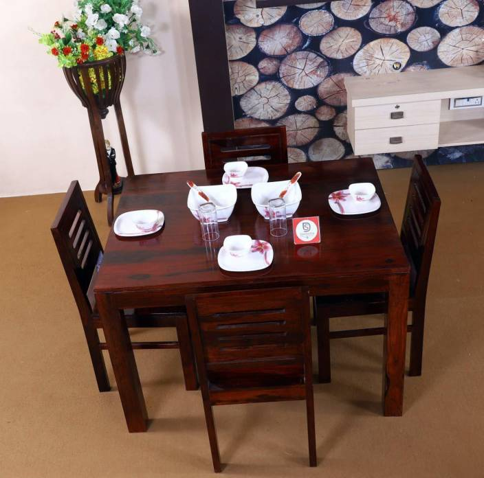 7f80d511ef5e Allie Wood Solid Sheesham Wood Dining Table 4 Chairs Solid Wood 4 Seater  Dining Set