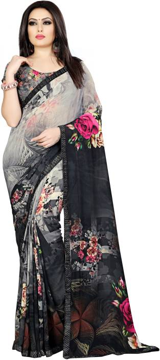2ea7d6ca47 Buy Kalaa Varsha Digital Prints, Floral Print Fashion Georgette Grey ...