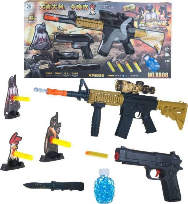 DD RETAIL PUBG Gun Toys Set with Assault Rifle M416 Model, 4X Design