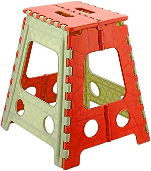 GOCART 18 Inches Super Strong Folding Step Stool for Adults and Kids,  Kitchen Stepping Stools, Garden Step Stool Red Kitchen Stool
