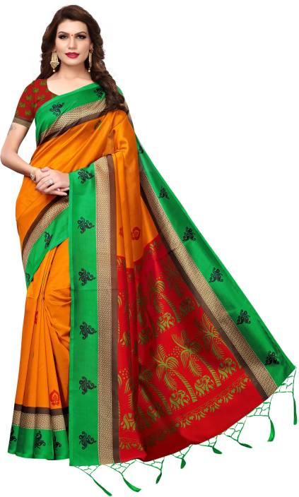 b204343a5a Buy RENSILAFAB Printed Kerala Art Silk, Poly Silk Mustard Sarees ...