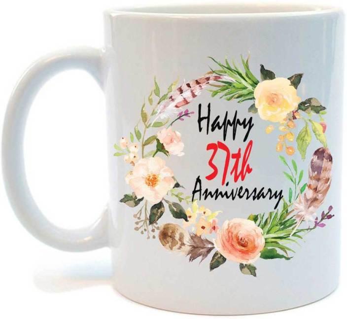 Juvixz Printed Happy 37th Anniversary Ceramic Coffee Ceramic Mug