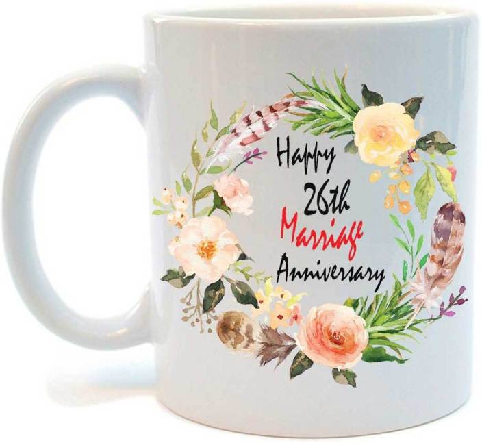Juvixz Printed Happy 26th Marriage Anniversary Ceramic Coffee