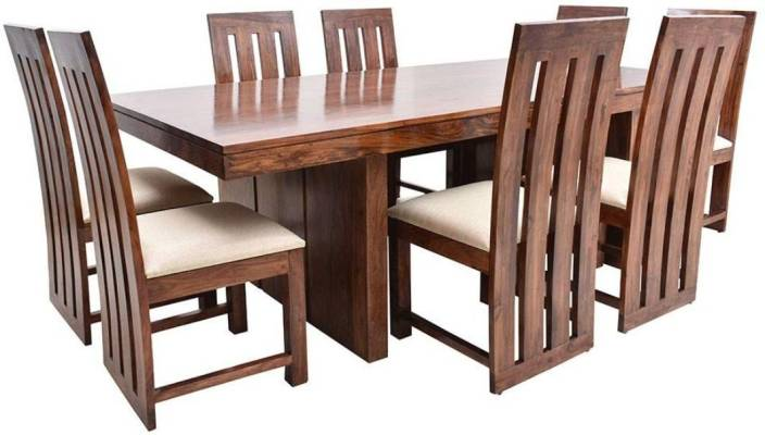 Suncrown Furniture Sheesham Wood Dining Table With 8 Chairs For Living Room Walnut Finish