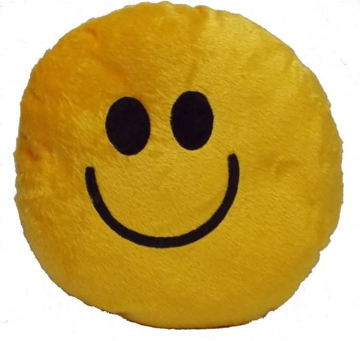 dd50445849e Manswini Creation Emoji Smiley, Round Shape Baby Pillow Pack of 2 (Yellow)