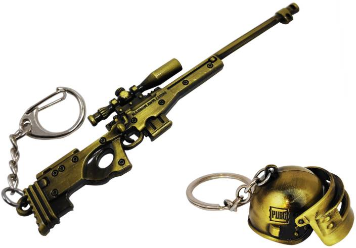 One Wish PUBG AWM Sniper Weapon Gun With Level 3 Helmet Key Chain