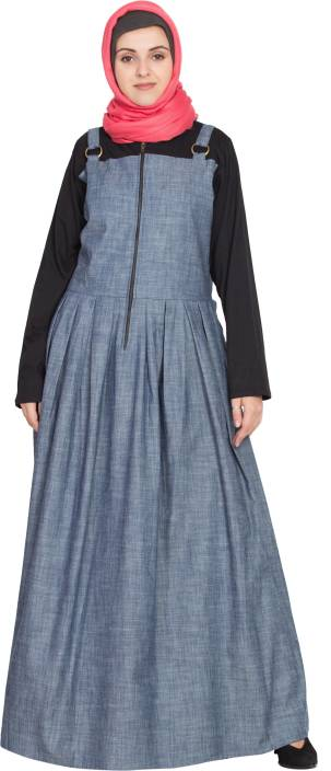 5f5b0f7aca Nazneen NHF130Front open Contrast jersey and chambray straps(2X) Cotton  Solid Abaya