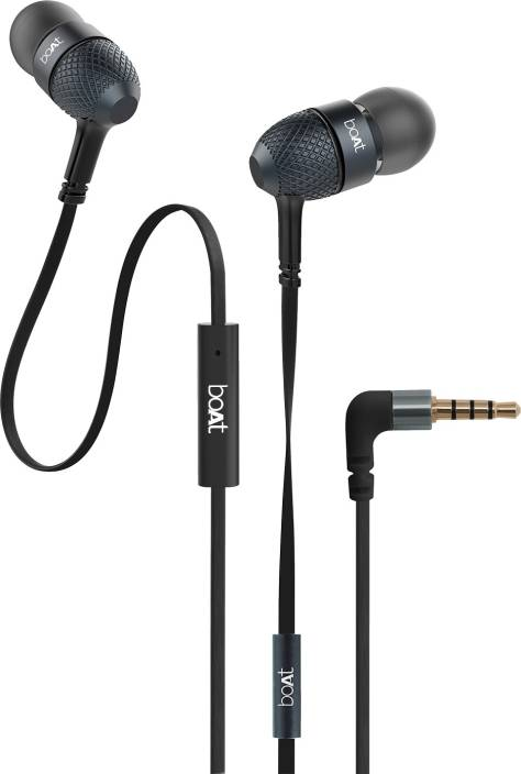 011b11a9d00 boAt BassHeads 220 Super Extra Bass Wired Headset with Mic (Black, In the  Ear)