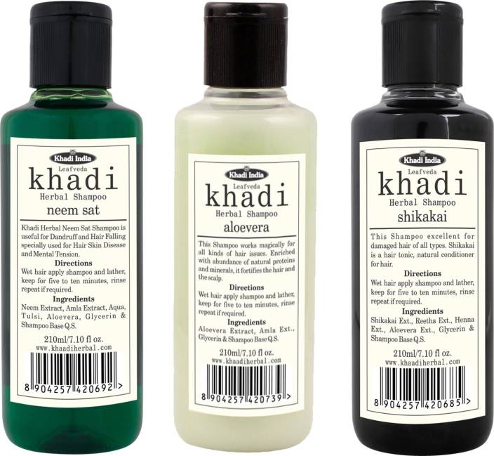 LEAFVEDA Khadi Combo Shampoo: Neem Sat & Shikakai & Aloevera
