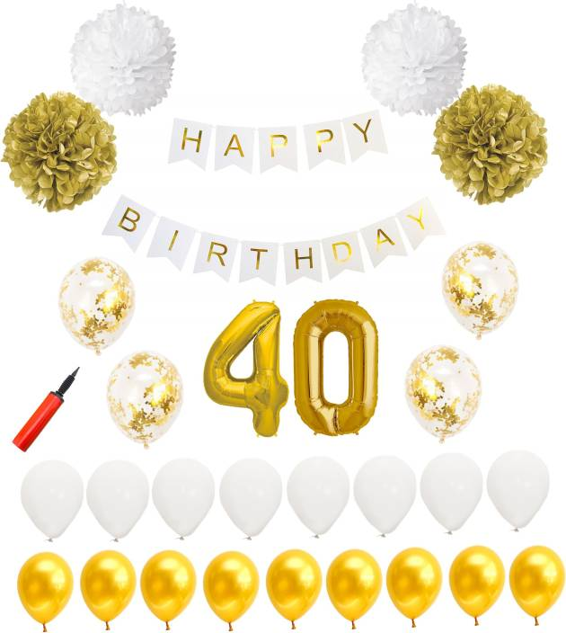 Bash N Splash Solid White Gold 40th Birthday Party Decoration Pack Of 61