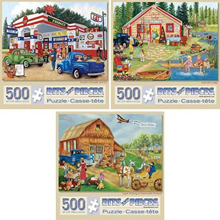 Bits and Pieces Set of Three 3 500 Piece Jigsaw Puzzles for