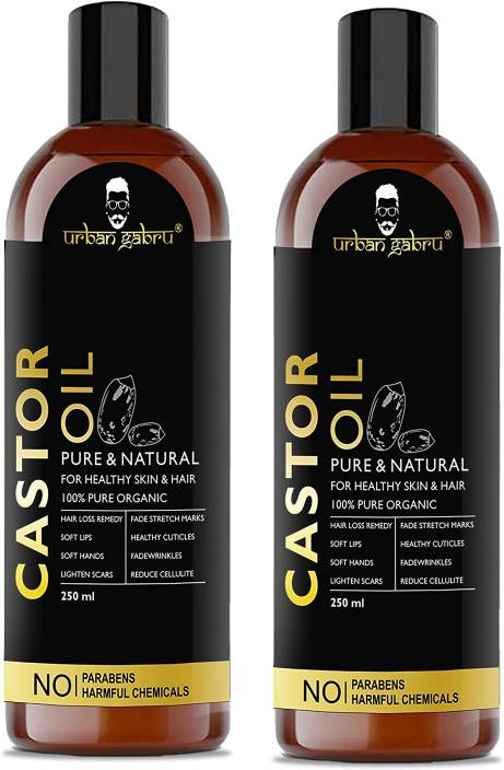 UrbanGabru Cold Pressed Castor Oil for hair growth, dry skin -100% Pure  organic- 500 ml (Pack Of 2) Hair Oil