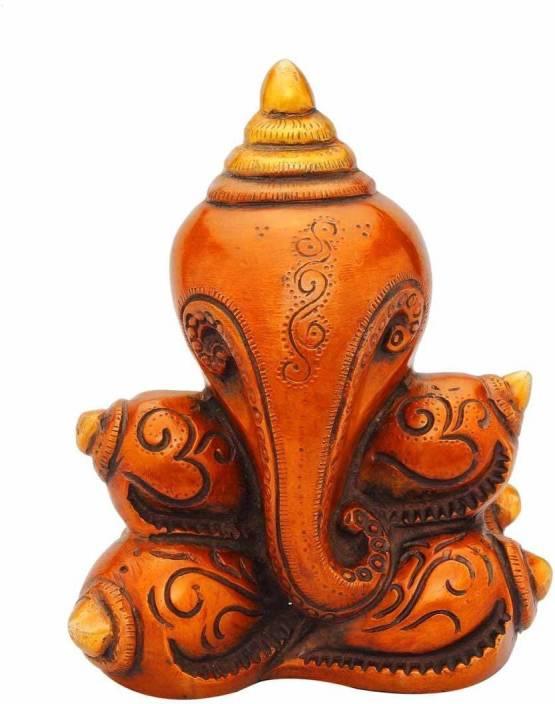 Balaji Decor Brass Indian Hand Made Conch Ganesha Statue Hindu