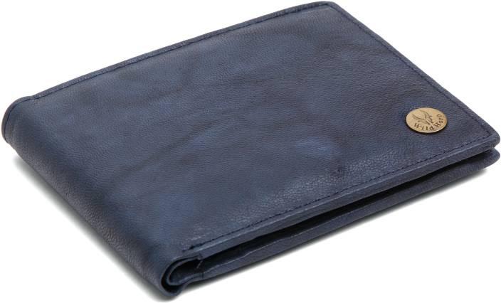 Men Blue Genuine Leather Wallet(6 Card Slots)