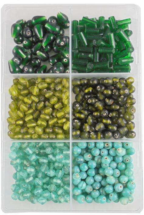 ESTORE 300 gm Green Color Glass Bead Beads for Jewellery Making kit
